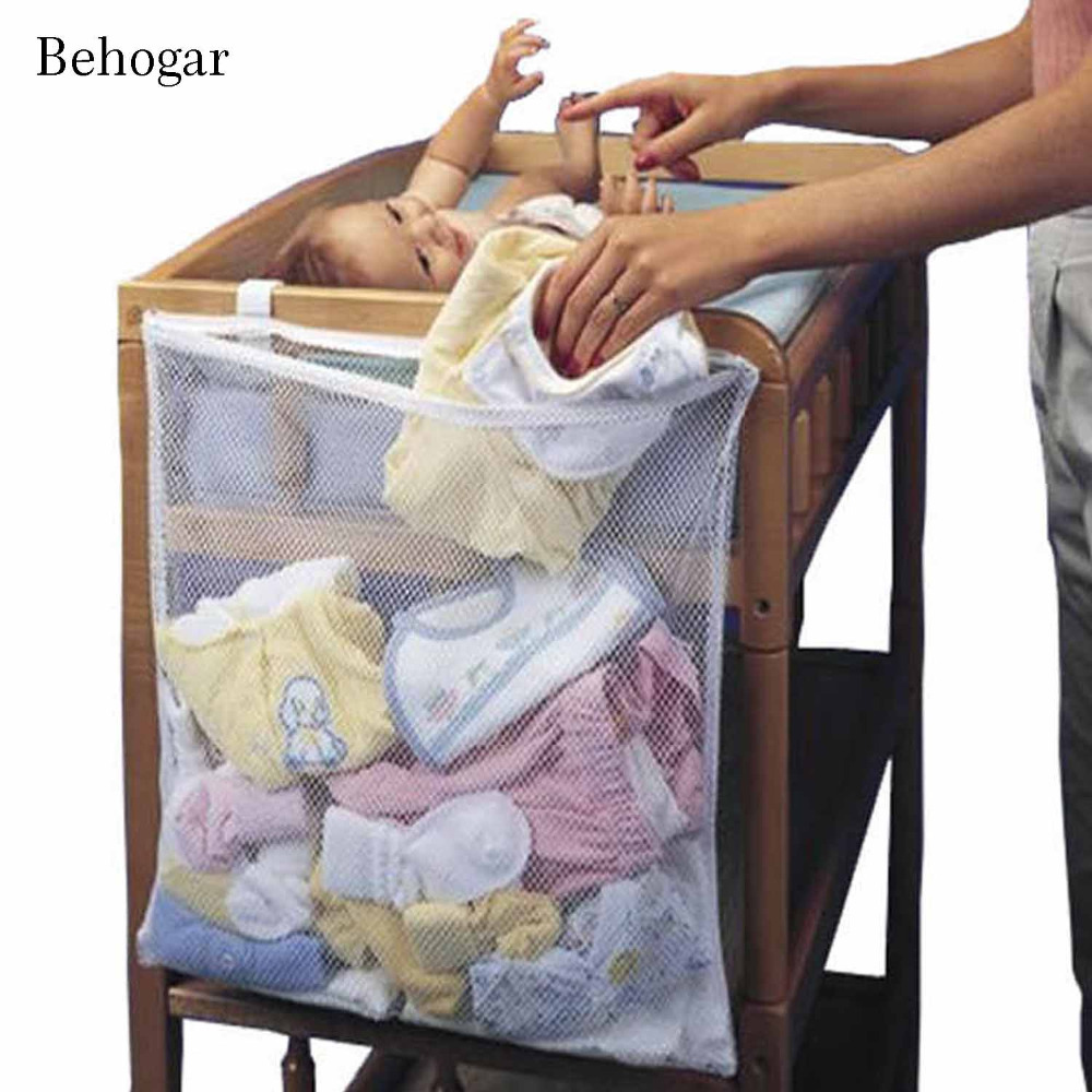 Behogar Universal Big Capacity Mesh Hanging Over Bed Baby Diaper Nappy Dirty Cloth Toy Storage Organizer Bag Pouch Hanger