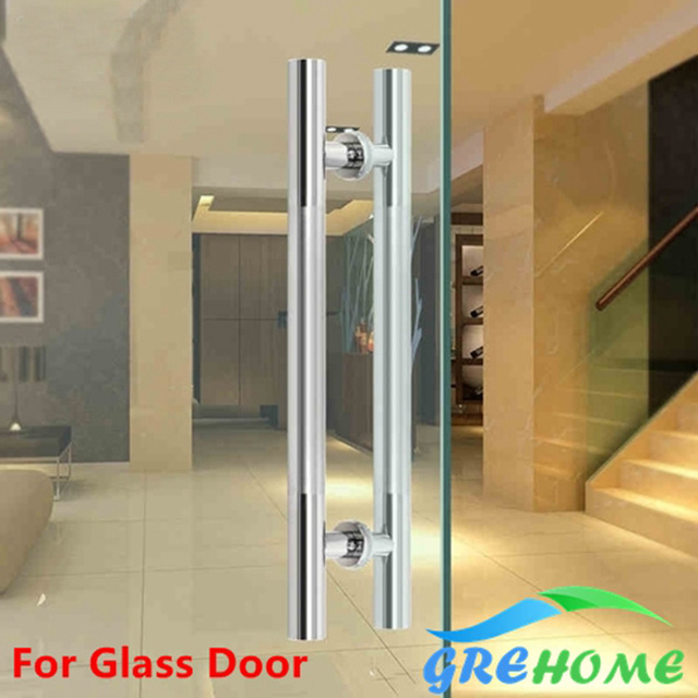 24 Inches Modern Round Bar Ladder Brushed Stainless Steel Sliding Barn Door Handle for 8-12mm glass or 40-45mm wood door