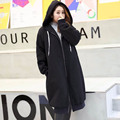 Warm Thick Trench Coat for Women 2017 New Style Plus Size 3XL Casual Loose Zipper Black Long Trench Outerwear FH305