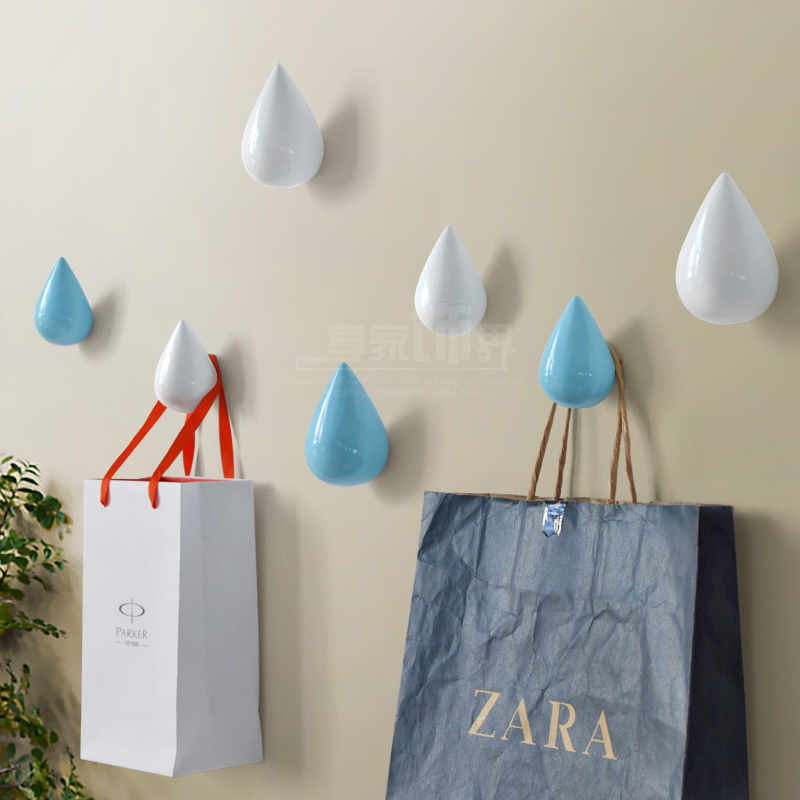 new Brief Modern Water Drop Design Resin Single Hooks Hat Coat Clothes Towel Robe Hooks Bath Wall Door Hanger Hooks Decorative αυτοκολλητα τοιχου καθρεπτησ