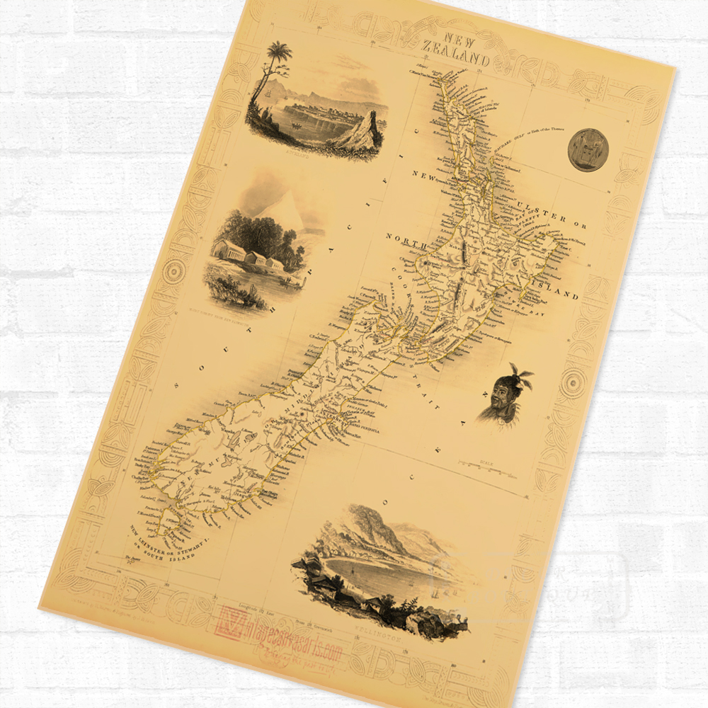 NZ New Zealand Tourism Map Maori Travel Vintage Poster Retro Canvas ...