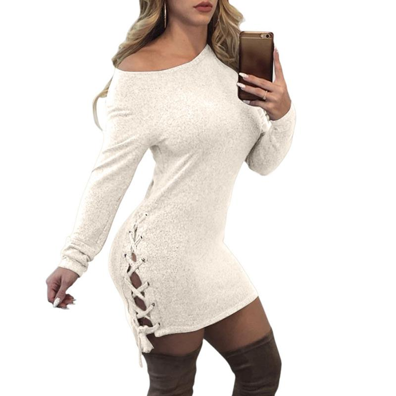 Black Friday Sexy Bandage Dress Women Long Sleeve Side Lace Up Autumn Mini Dresses Slim Robe Female Bodycon Party Dress WS4698O
