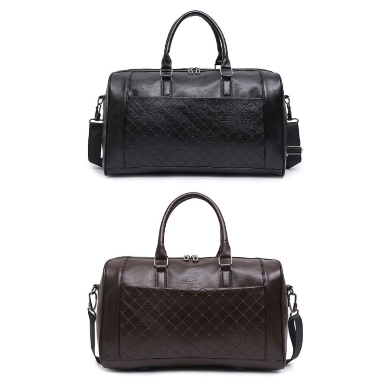 Luggage Bag Vintage PU Leather Oversized Weekender Duffel Bag Overnight Handbag