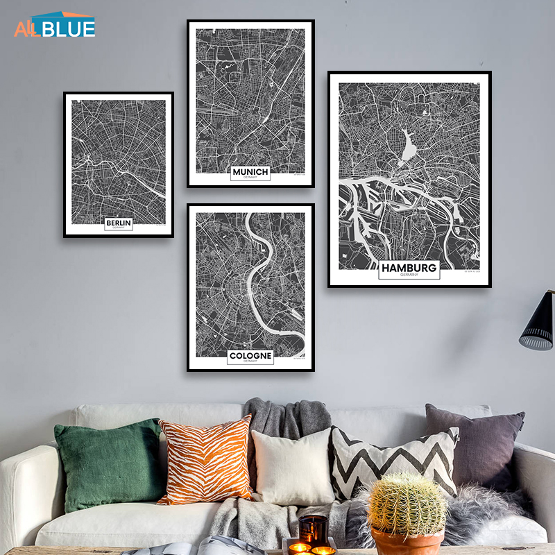 Europe Black And White World Germany City Map Berlin Poster Prints Wall Art Canvas Painting Wall Pictures For Living Room Decor Big Sale Ec00 Cicig