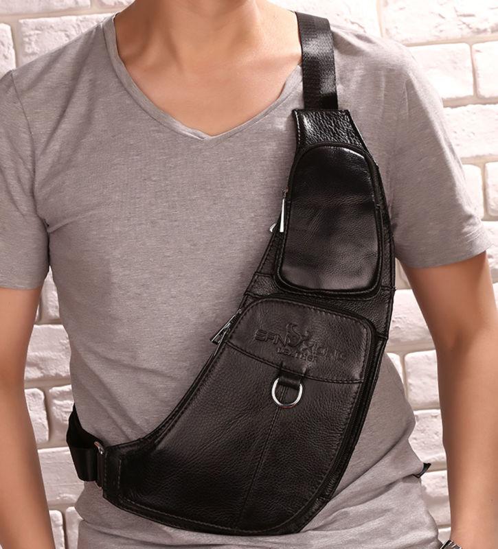 Men Shoulder Pack Chest Bag Sling Messenger Travel Genuine Cross Leather string sling pack