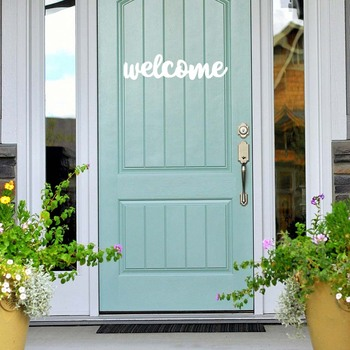 Creative Welcome Door Sticker Vinyl Personality Style Wall Decal Removable  Pvc Wall Stickers Home Decoration Door