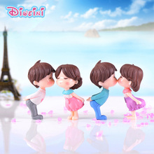 2pc Kissing Lover Figurines Boy Girl Wedding Doll Miniatures Couple Fairy home Garden Decoration Girl toy DIY accessories gift