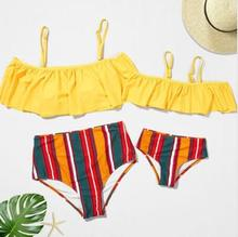 Ruffled Swimsuits Mommy and Me Clothes Family Look Mother Daughter Swimwear High Waist Bikini Mom Girl Matching Dress Outfit