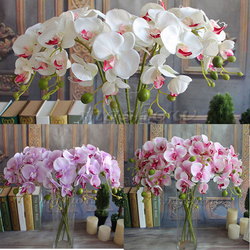 Hot Sale Wedding Artificial Fake Silk Flower Phalaenopsis Butterfly Orchid Decor