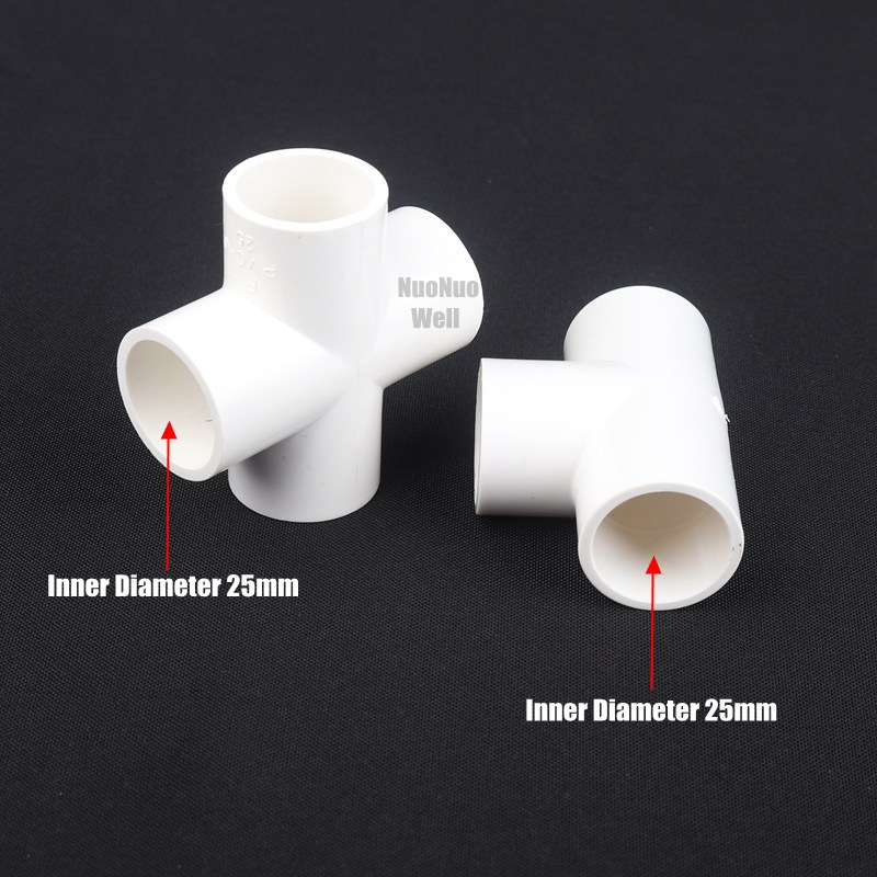 25mm Dia PVC Straight Design Water Pipe Hose Joint Adapter Connector White 10pcs
