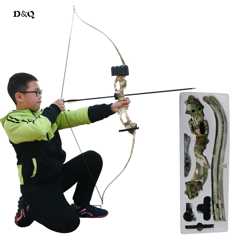 20lbs Archery Recurve Bow Set for Children Adult Outdoor Hunting Shooting Practice Game Slingshot Take Down Bow Camouflage Black soft arrowhead 20lbs camouflage archery cs game compound bow slingshot take down bow for hunting shooting practice games