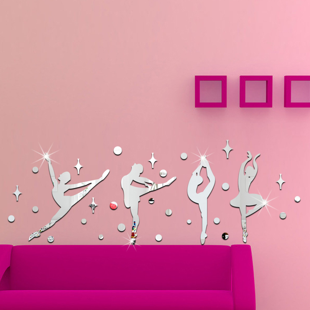 Dance Classrooms 3D Ballet Girl Mirror Wall Stickers For Kids Rooms Artistic Background Home Decor Miroir Mural