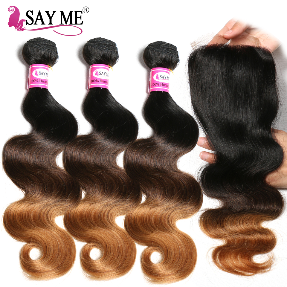 Peruvian Hair Bundles With Closure Body Wave 3 Bundles Ombre Human Hair Bundles With Closure SAY ME Remy Hair Weave 1B/4/27 30