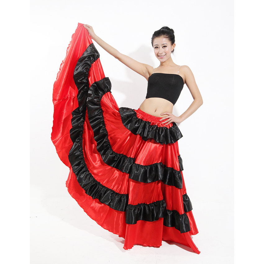 Female Party Ballroom Dance Dress Spanish Style Flamenco Skirt Women Plus Size Maxi Hem Red Stage Wear Skirt Performance