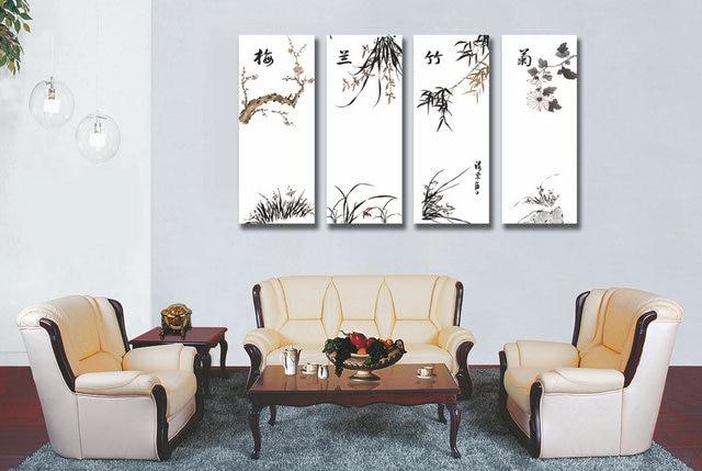 4 paneles chino plum Flor de Orquídea de paisaje de la lona pintura de paisaje arte de pared para sala de impresiones de la lona-in Pintura y caligrafía from Hogar y Mascotas    1