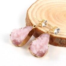 1Pair Female Druzy Stone Earrings For Women Jewelry Crystal Drusy Resin Pink Dangle Earings Eardrop Christmas Earing E154