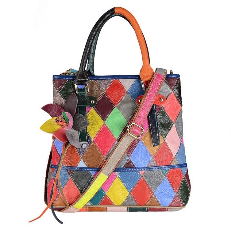 все цены на Women Genuine Leather shoulder handbags Female Leather Sheepskin fashion Ladies shopping bag Colorful Random Patchwork