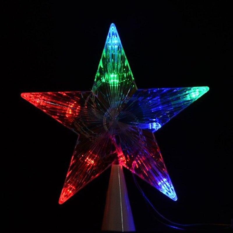 Large Christmas Tree Topper Star Lights Lamp Multi Color Decoration 100-240V  QP2