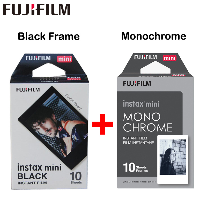 2017 Genuine Fujifilm Fuji Instax Mini Film Monochrome Mono + Black Frame Film for Mini 8 70 8 Plus 90 25 Camera SP-1 SP-2 Plus fujifilm instax mini 8 black