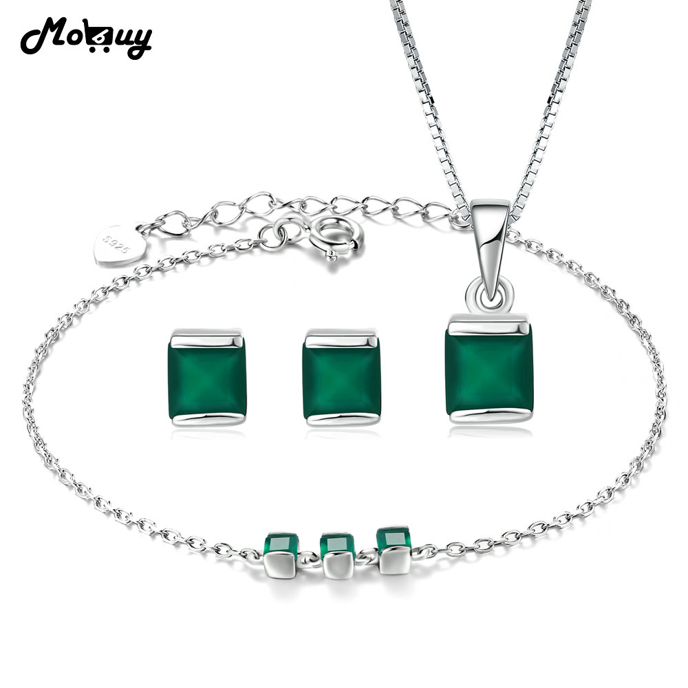 MoBuy Trendy Jewelry Sets Natural Gemstone Green Chalcedony 100 925 Sterling Silver Fine Jewelry For Women