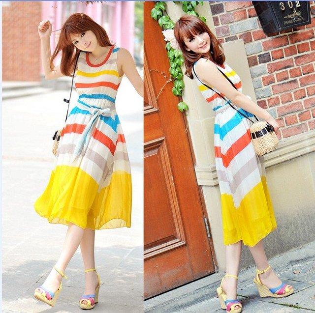 Free shipping New 2011 rainbow silk Chiffon long Dress L6087