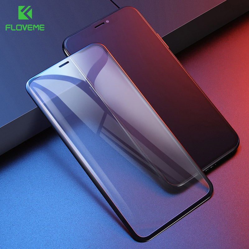 FLOVEME 9H Glass for iPhone X XS MAX Screen Protector 7D Arc Curved Full Cover for iPhone XR XS