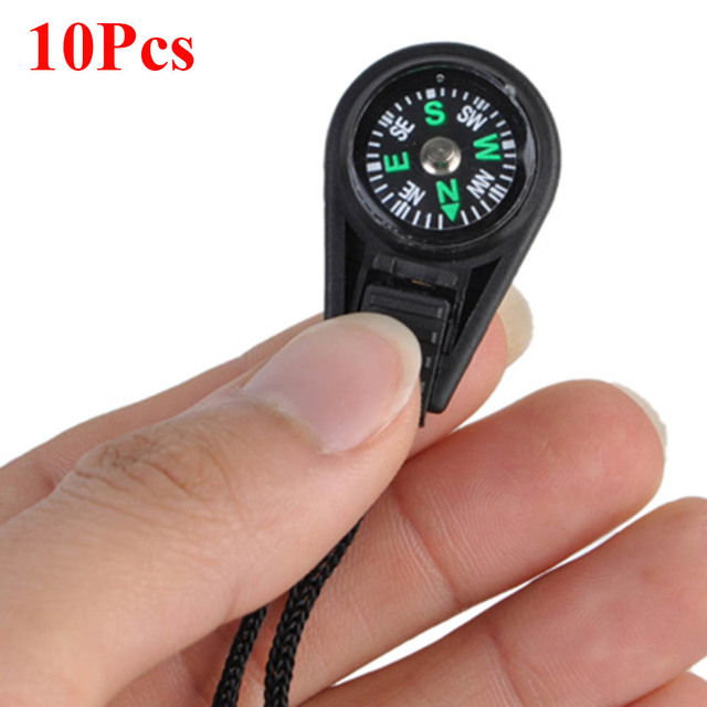 10Pcs Backpack Zipper Pull Mini Compass Backpack Bag Strap Camping Keychain Anti-lost Surival Hiking Climbing Tool