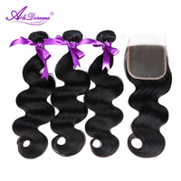 Alidoremi Brazilian Body Wave Human Hair Bundles With Closure 3 Bundles With Free Part 4x4 Lace