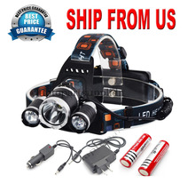 USA ship Hunting Camping Flashlight 8000lm 3x CREE T6 LED Headlamp Lamp Headlight Hiking Light Rechargeable + Battery + Charger