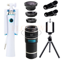 Universal HD 12X Telephoto Zoom Lens Telescope Fisheye Wide Angle Macro Lenses Mini Selfie Stick Mobile