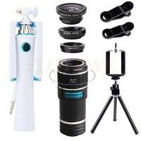 Universal HD Zoom 12X Telephoto Lens Kính Thiên Văn Fisheye Wide Angle Macro ống kính Mini Ảnh Tự Sướng Thanh Di Động Tripod Cho iPhone 6 6 s 7