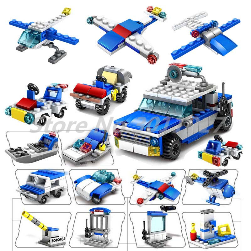 City Police Construction Helicopter Car Building Blocks Set 305pcs Bricks 16 in 1 Model  ...