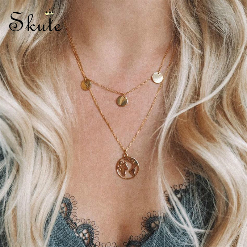 Skute Fashion Round Sequins Double Layer World Map Pendant Necklaces for Women Personality Choker Necklace Female Boho Jewelry(China)