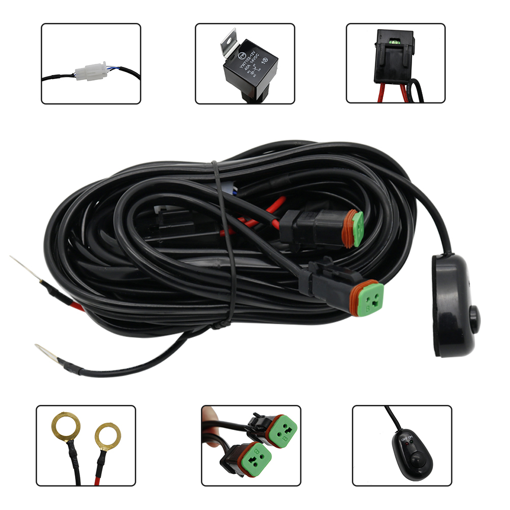 Durable Car Auto Led Work Lamp Driving Lights Wiring Harness Offroad Led Light Bar Wire Cable 12v 24v Switch Relay Kit (12)