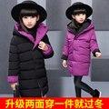 Nova roupa das crianças amassado criança jaqueta reversível algodão-acolchoado jaqueta de médio-longo outerwear roupa dos miúdos adolescentes menina casaco