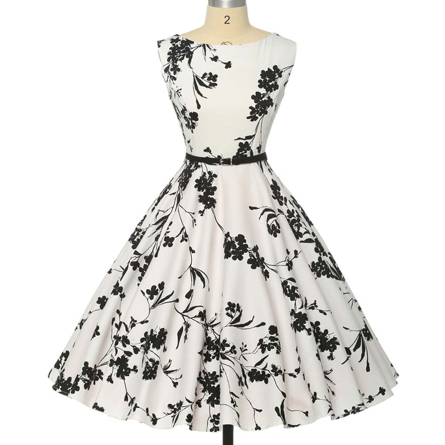 Femmes d'été dress 2017 plus taille vêtements audrey hepburn floral robe rétro swing casual 50 s vintage rockabilly robes vestidos