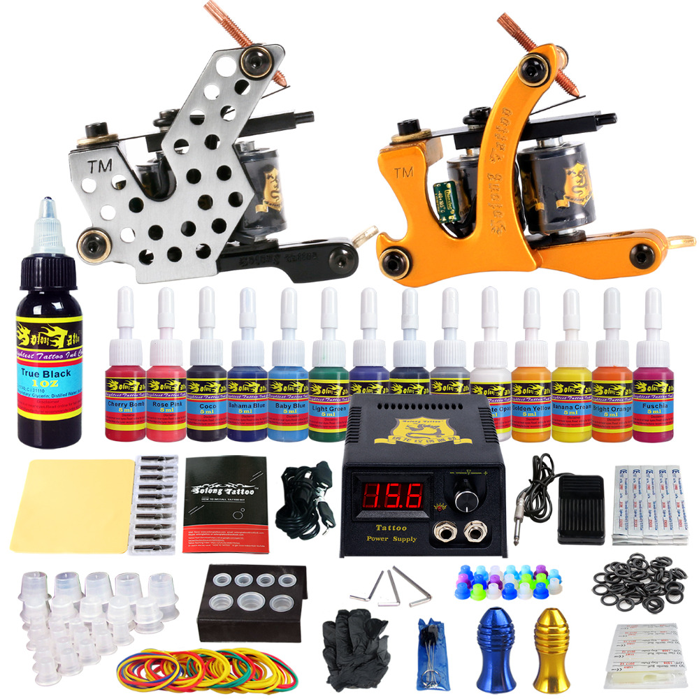 Complete Tattoo Kits 10 wrap Coils Guns Machine 54Color Black Tattoo Ink Sets Power Supply Disposable Needle TK212 tattoo kit completed tattoo kits 8 wrap coils guns machine 4 color tattoo ink sets power supply disposable needle