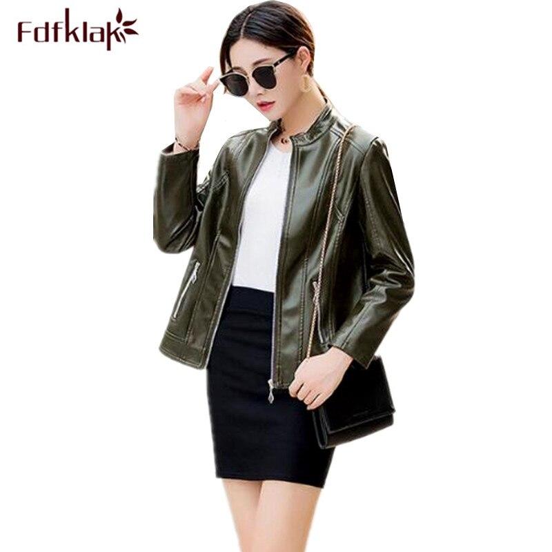 Fdfklak XL-6XL plus size jacket women fashion new   leather   jacket female locomotive pu   leather   coat stand collar women's coats