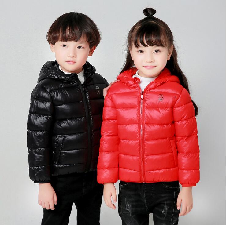 Autumn Winter Ultra Light Solid Color Down Jacket For Girls Hooded Jackets Long Sleeve Warm Slim Zipper Children Coat Parka