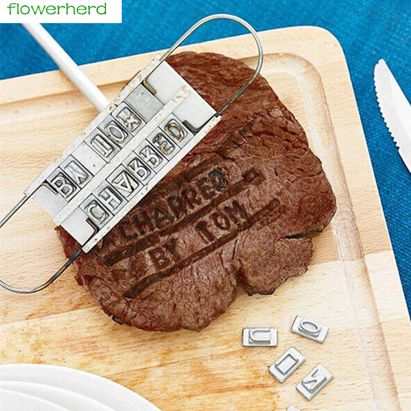 New Personality Steak Meat Barbecue BBQ Meat Branding Iron With Changeable Letters BBQ Tool Changeable 55 Letters Tool Set