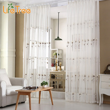 Plum Flower Embroidered Voile Curtains For Living Room Pastoral Style White Window Curtain Sheer Window Screen Custom Made