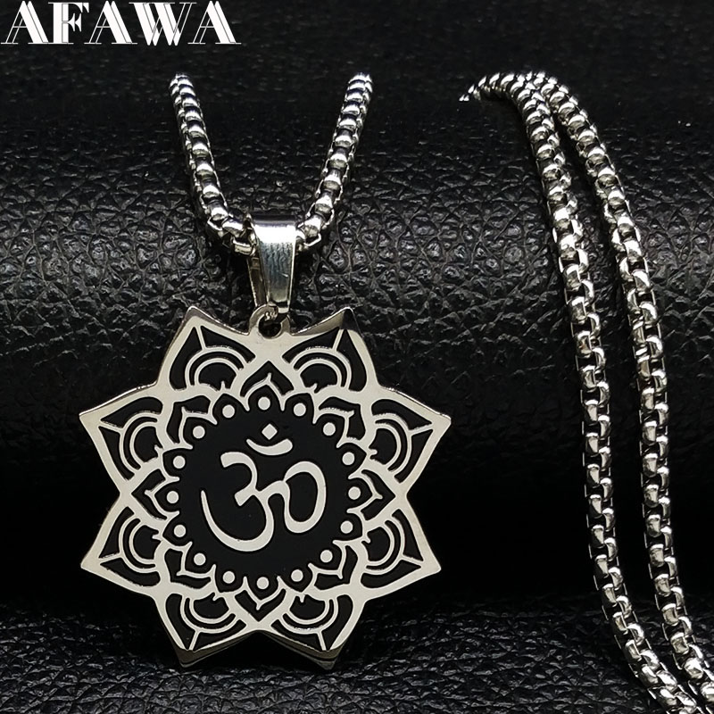 2019 Fashion Yoga Lotus Stainless Steel Statement Necklace Women Black Silver Color Spirit Necklace Jewelry Collares N18314