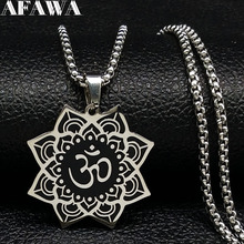 2019 Fashion Yoga Lotus Stainless Steel Statement Necklace Women Black Silver Color Spirit Necklace Jewelry collares N18314 недорго, оригинальная цена
