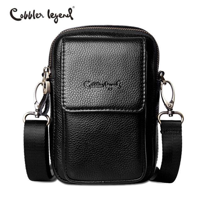 97a7285630c Cobbler Legend Original Genuine Leather Bag Black Men Shoulder Crossbody Bag  2018 Summer Small Travel Casual Bag Brand