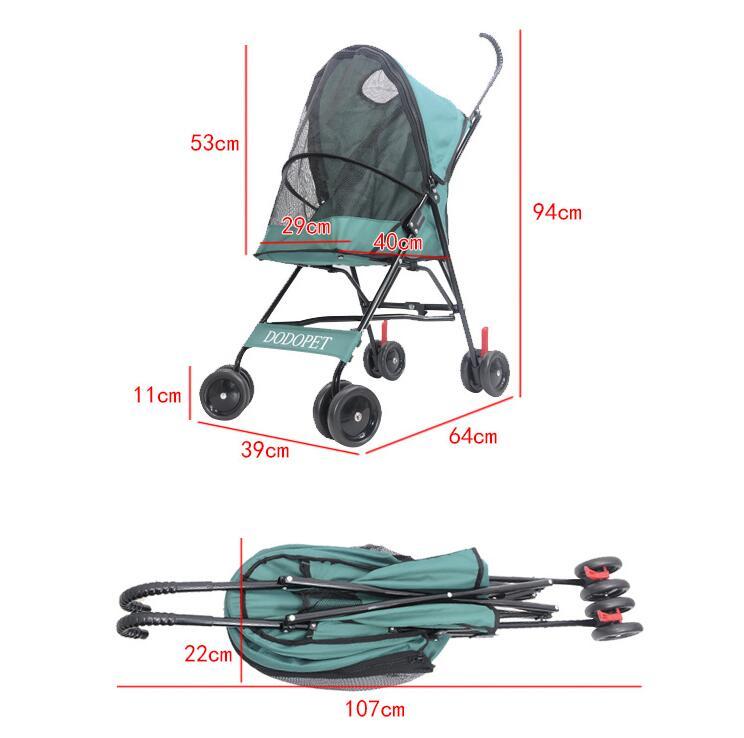 Один ключ складной маленькая собака handcart портативный Pet коляска тележка для домашних животных с тормозом