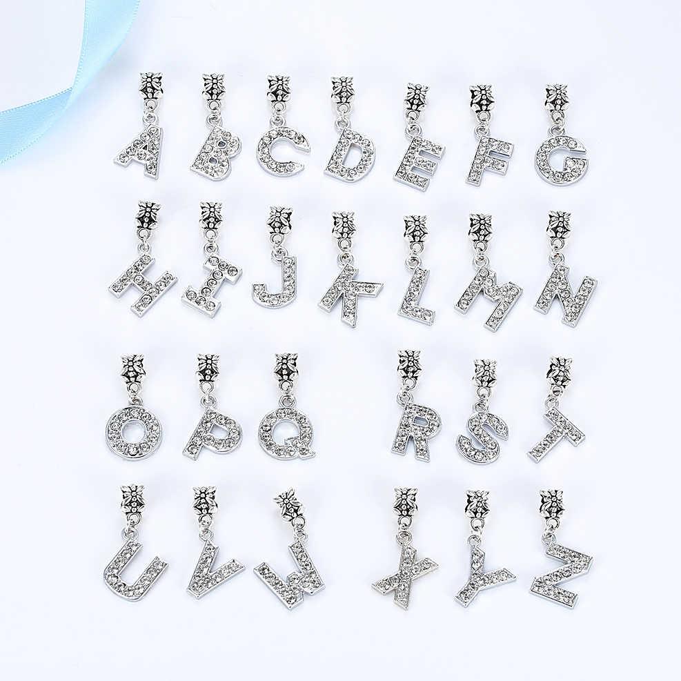 Nouveau pendentif Alphabet lettre argent plaqué alliage perle charme clair CZ Fit Bracelet Pandora collier bricolage femmes bijoux