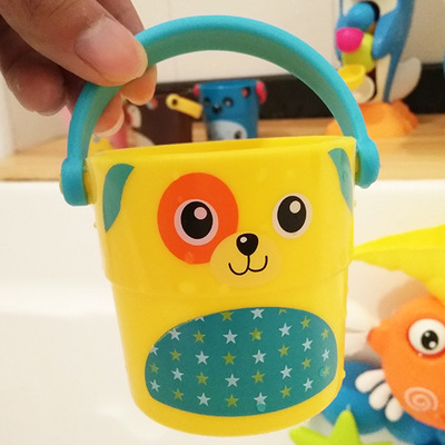 Cute Cartoon Baby Shower Bath Toys Mini Color Shower Small Bucket Bath Bathroom Children Play Water Toys Fun Small Gifts
