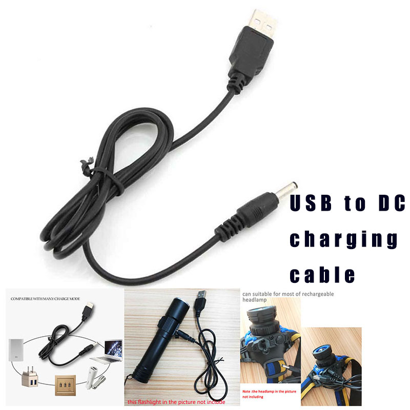 DC 5V 3.5mm Power Mirco USB Charger Charging Cable Adapter For 18650 Rechargeable Battery Head Flashlight  Torch Lamp
