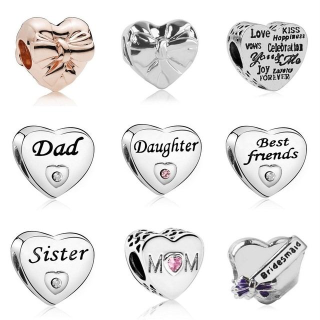 New Arrival Heart Bridesmaid DAD DAUGHTER BEST FRIENDS Bow Beads Fit Original Pandora Charm Bracelets & Bangles DIY Jewelry