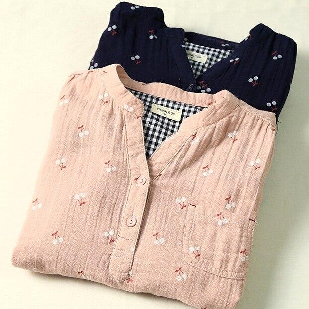 Sweet cherry cotton yarn soft skin-friendly breathable rustic fruit print long sleeve vintage shirt blouse